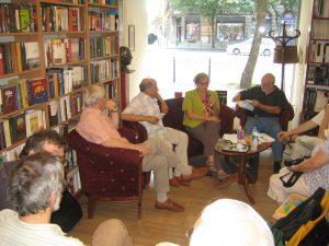 Enikő Bollobás speaks in the Örkény bookshop