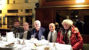 Nagy Peter Tibor, Vekerdy Tamas, Mihályi Geza, Mózes Endre, Müller Péter Sziámi a Centrál kávéházBan